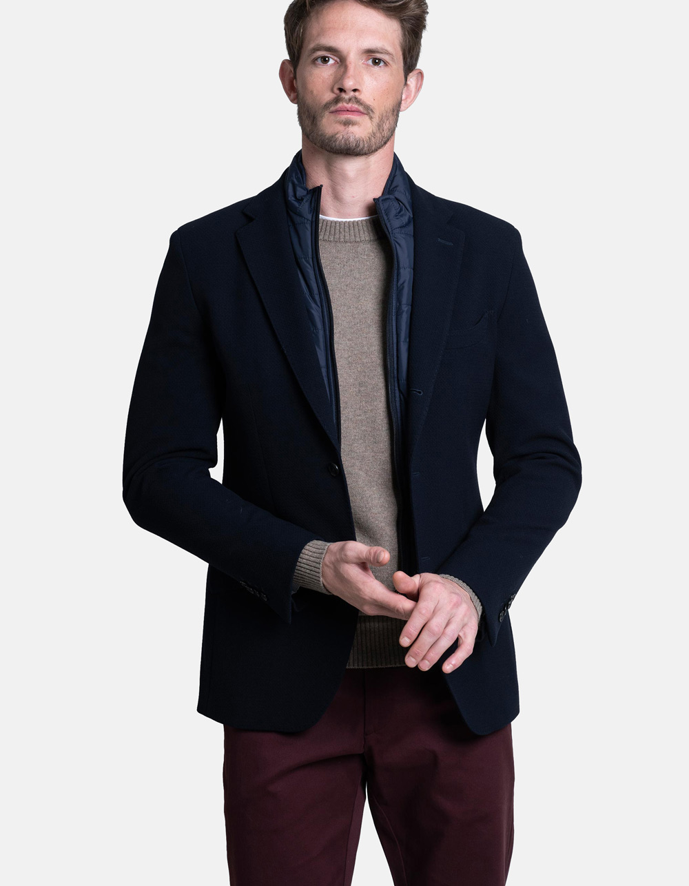 Structure Blazer with removable zipped inner collar