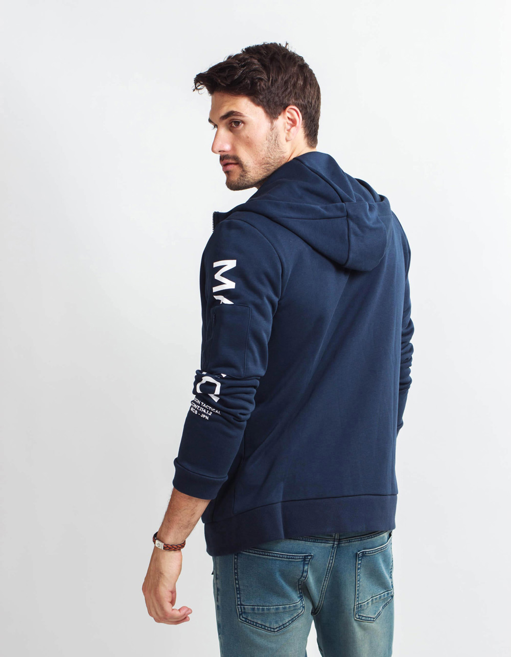 Blue hidden pocket Hoodie  - Backside