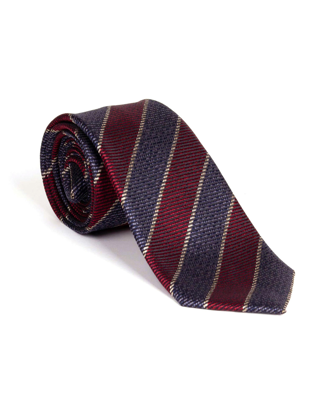 Diagonal striped tie in Navy and Bordo