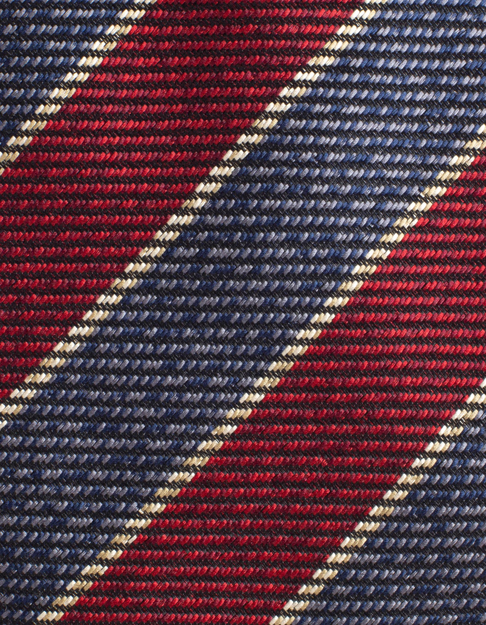 Diagonal striped tie in Navy and Bordo - Backside
