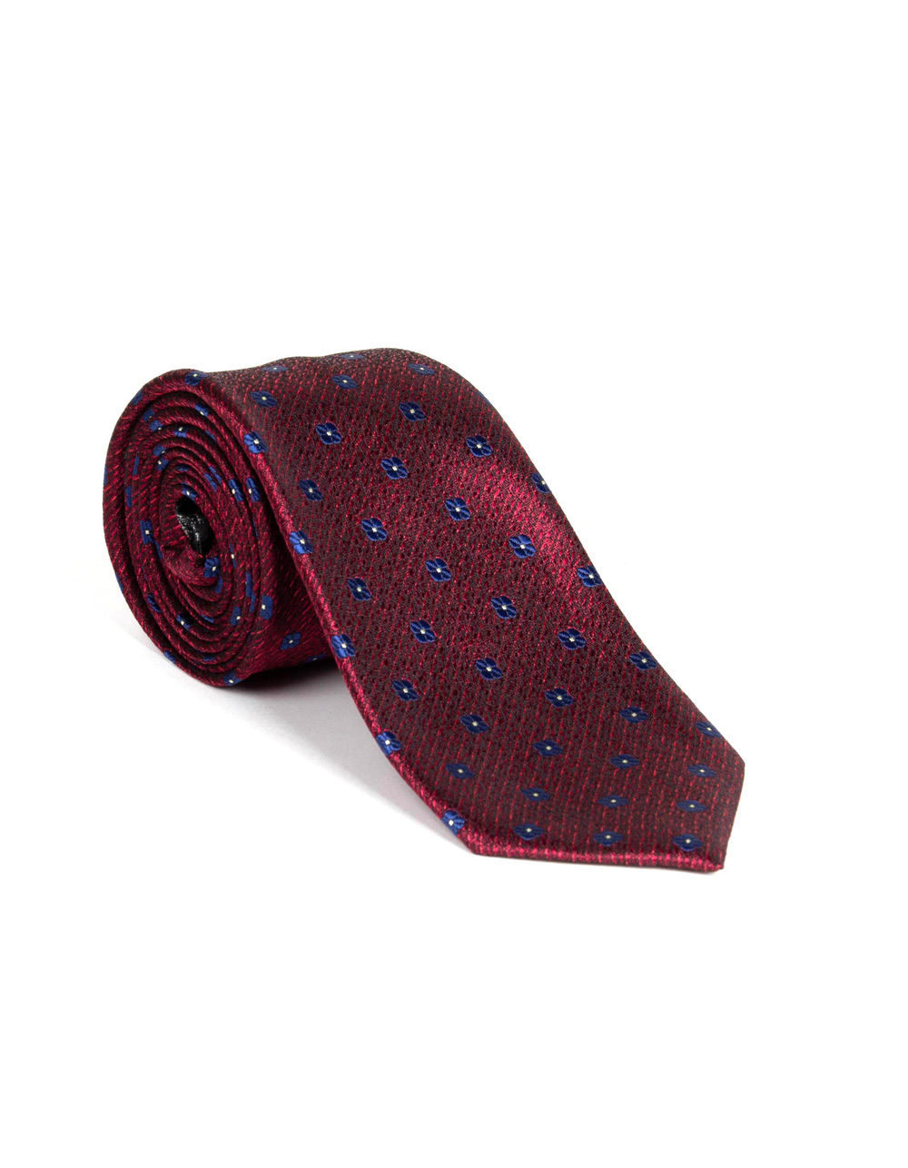 Red tie with red floral print