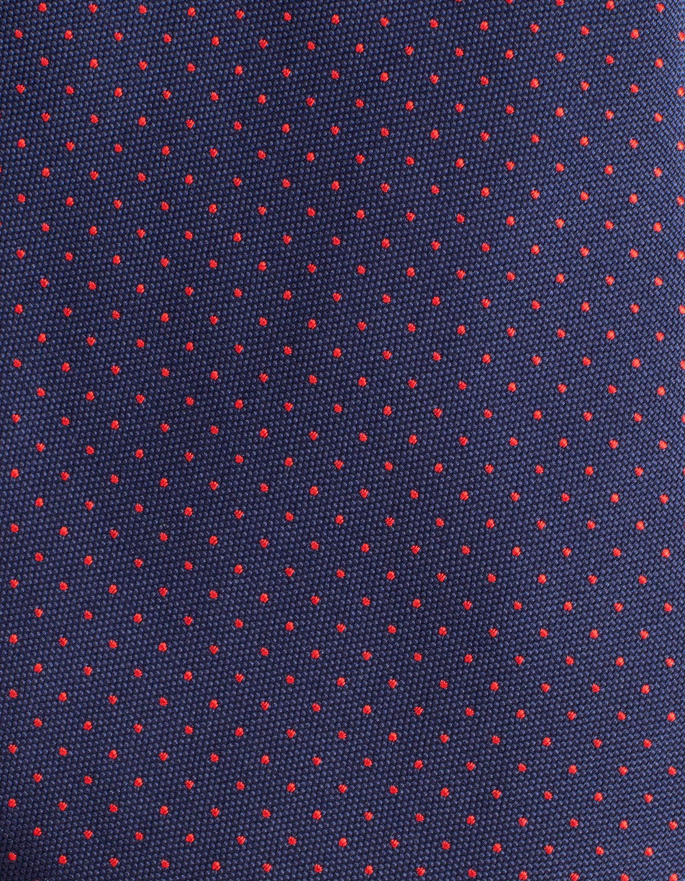 Dark Navy tie with micro polka dots - Backside