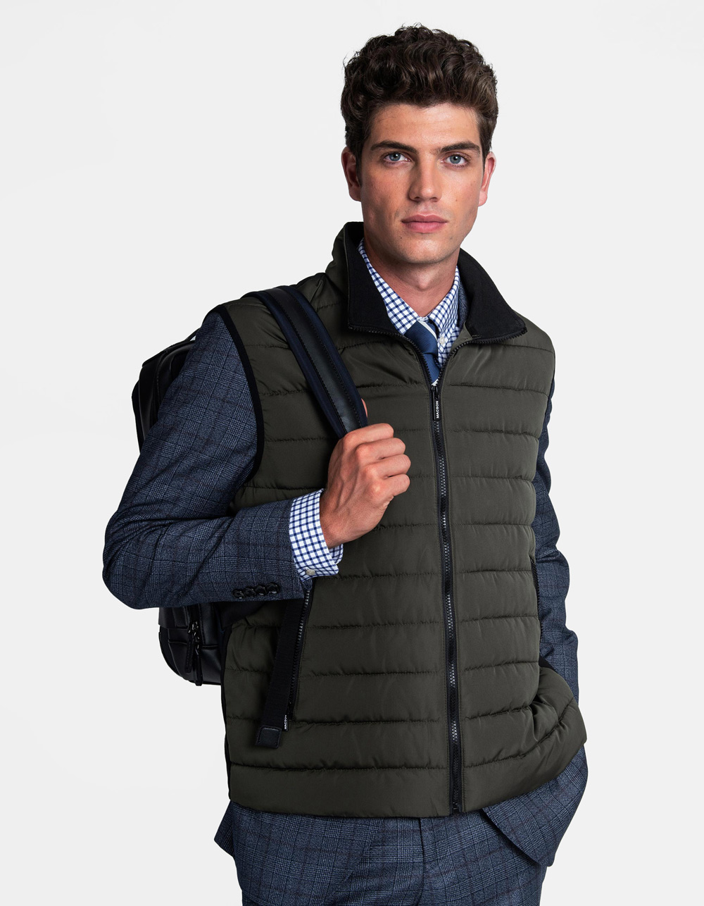 Green quilted vest