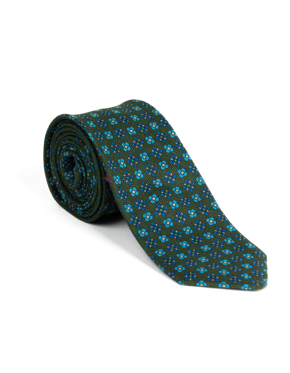 Green tie with floral print