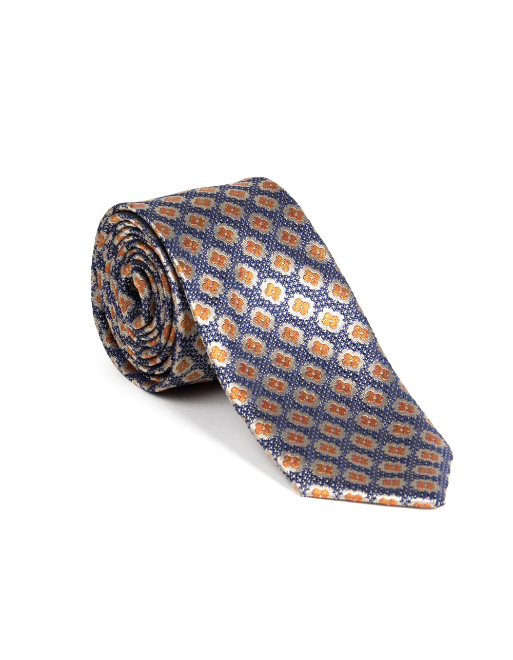 Blue tie with floral print