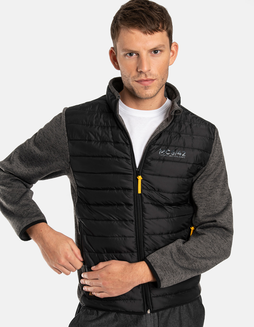 Knitted and nylon jacket
