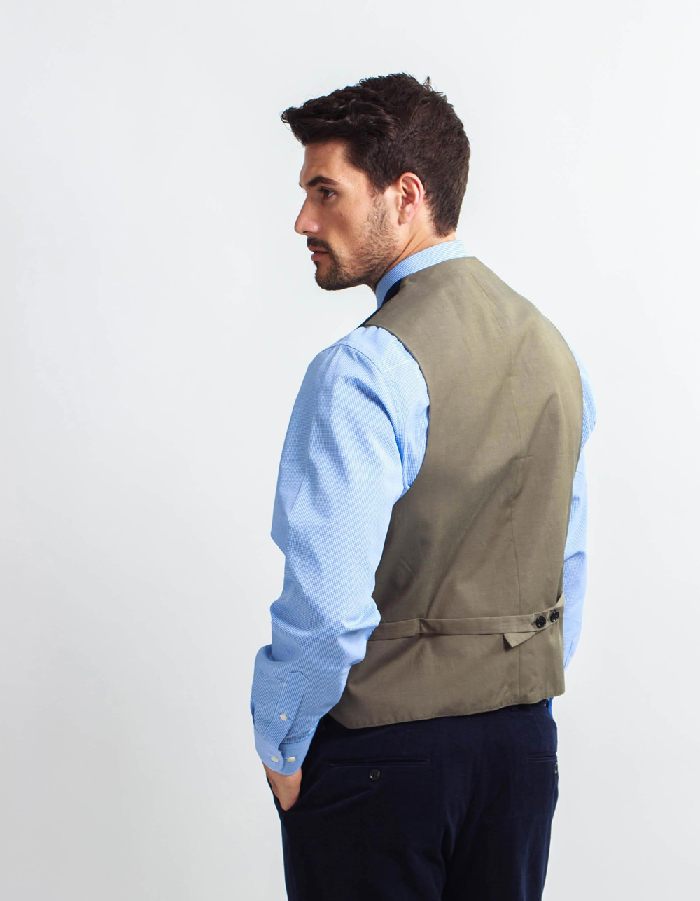 Navy courduroy vest - Backside