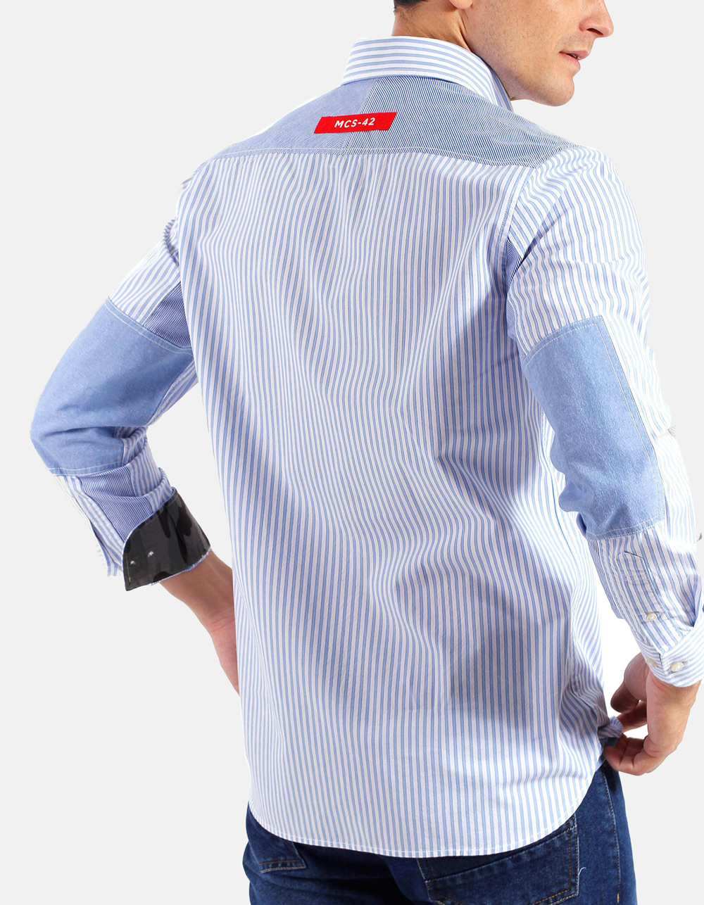 Blue White striped shirt  - Backside