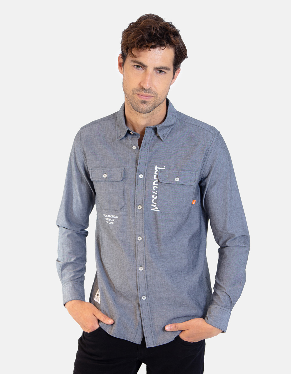 Grey Oxford long sleeve plain shirt