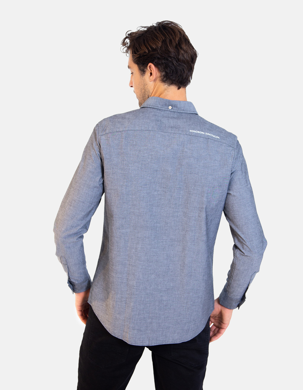 Grey Oxford long sleeve plain shirt - Backside