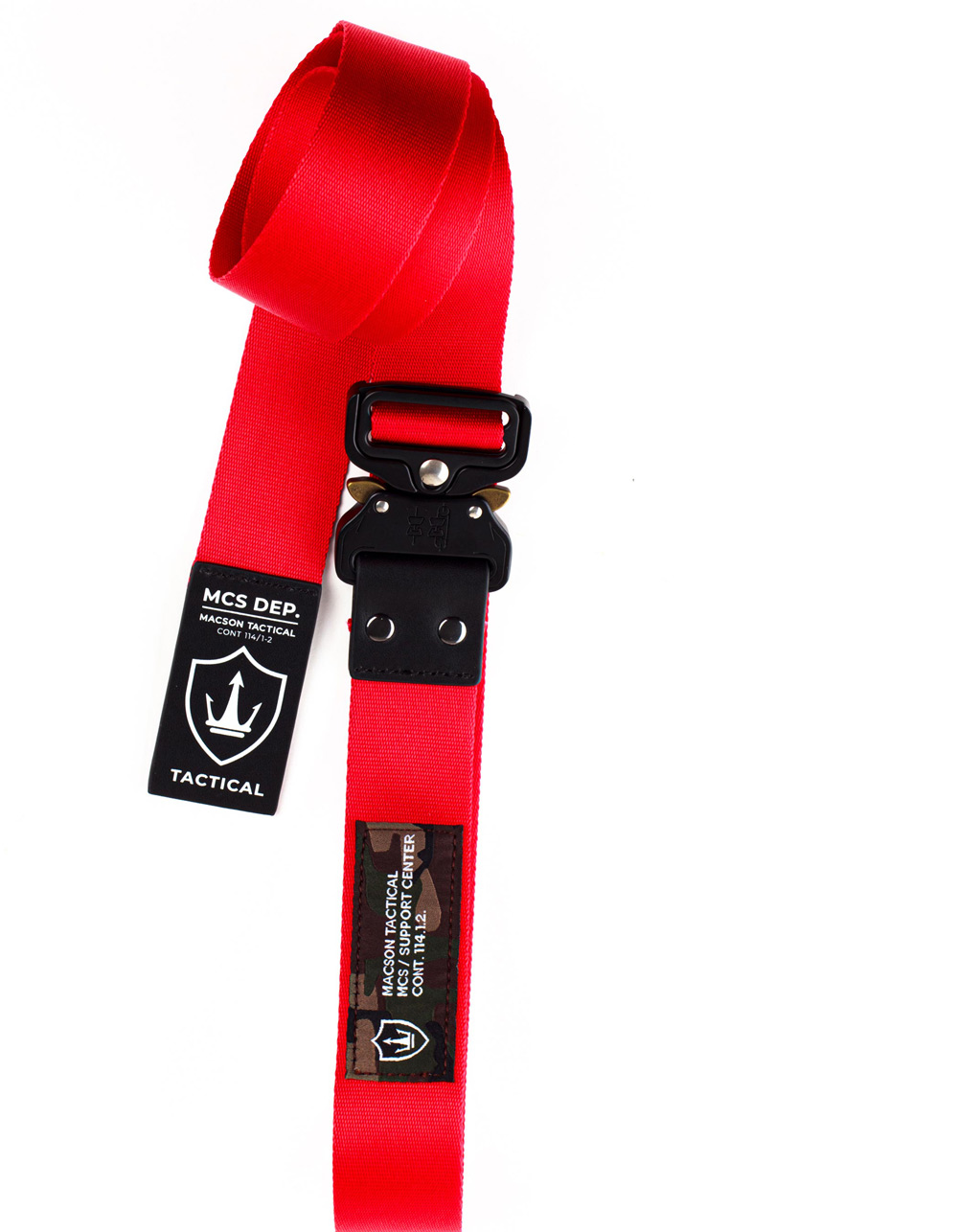 Red tactical carabiner belt. - Backside