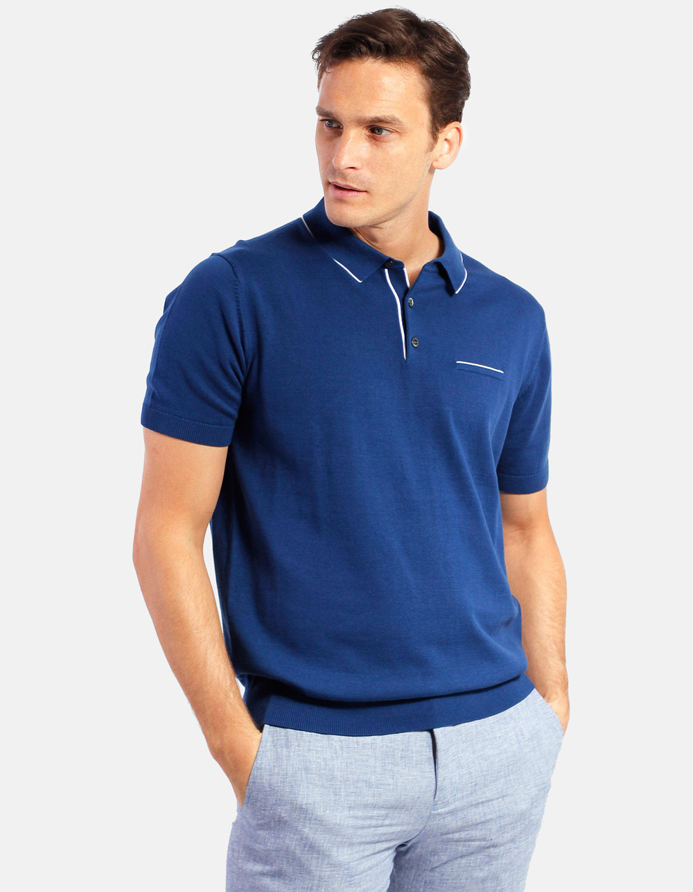 Navy white line knit polo