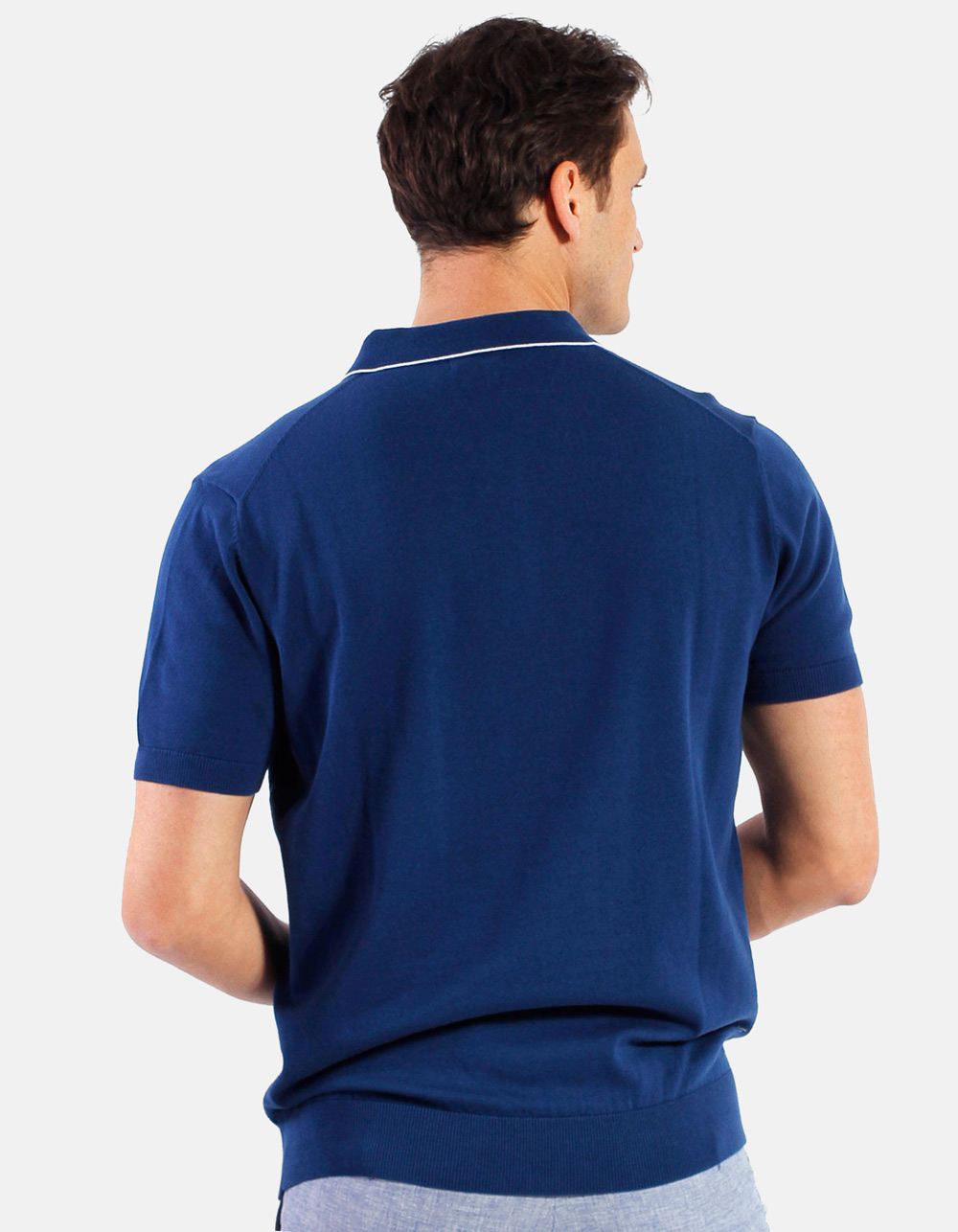 Navy white line knit polo - Backside