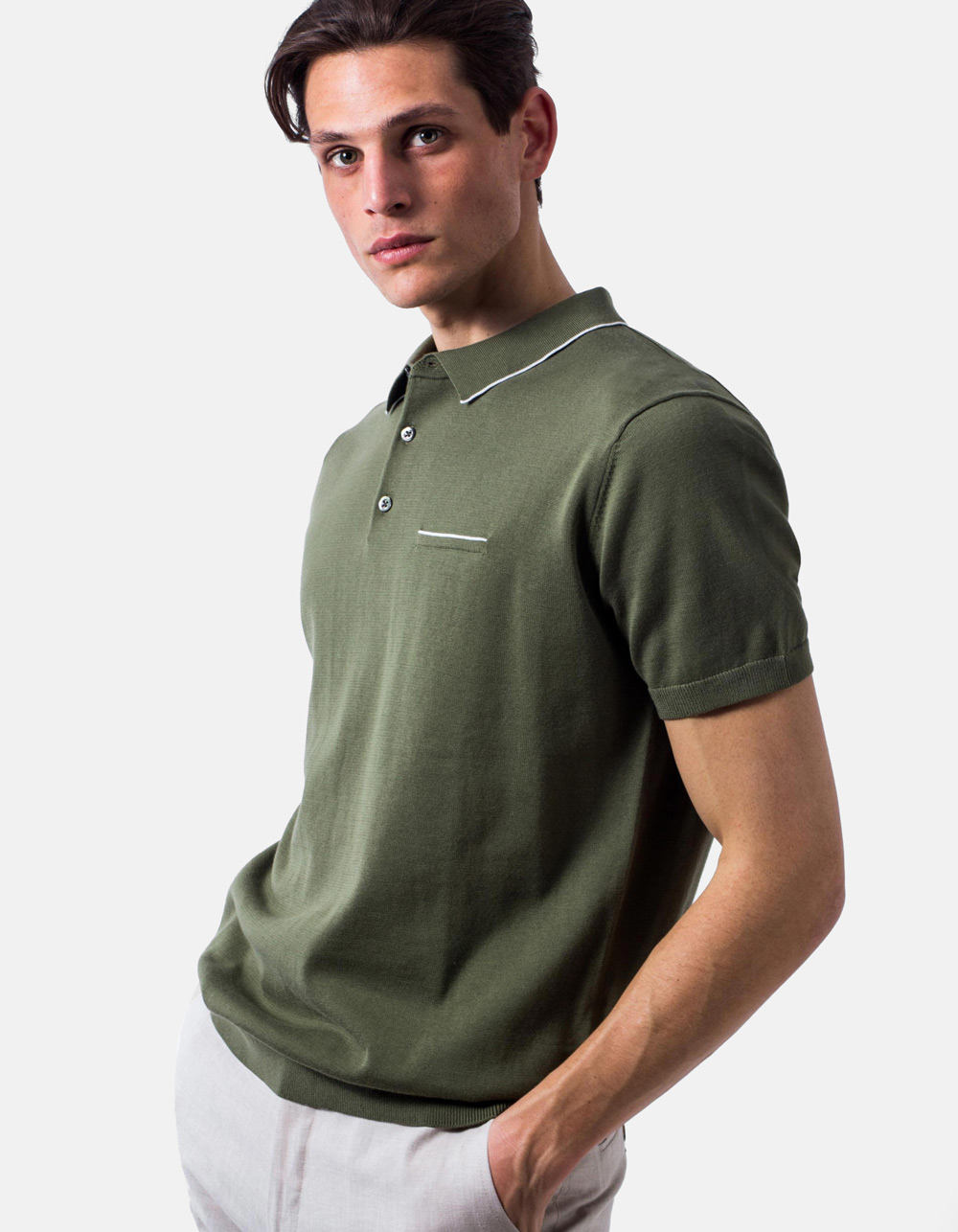 Green white line knit polo