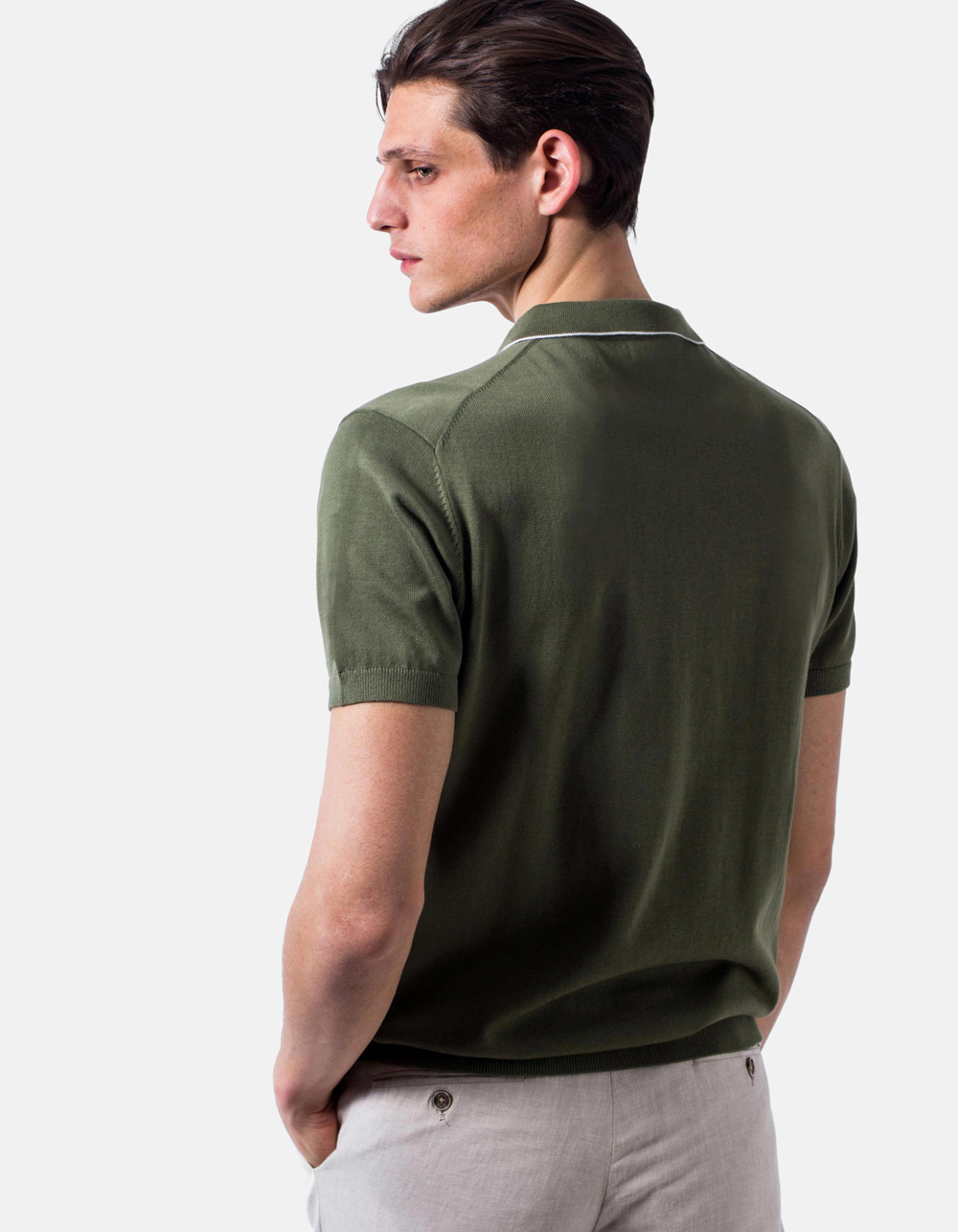 Green white line knit polo - Backside