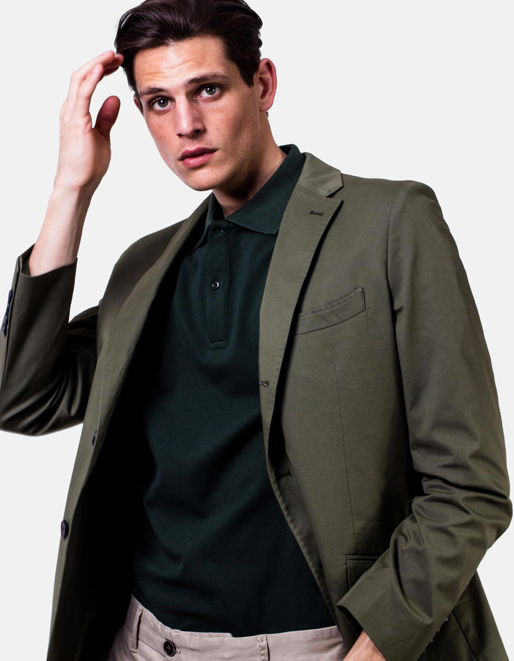 Green plain blazer