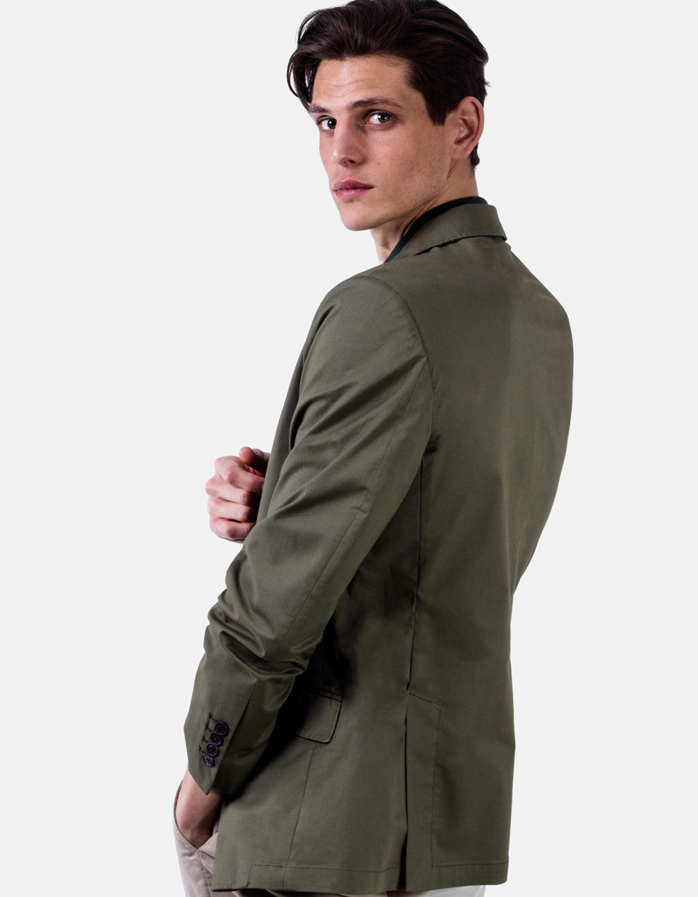 Green plain blazer - Backside