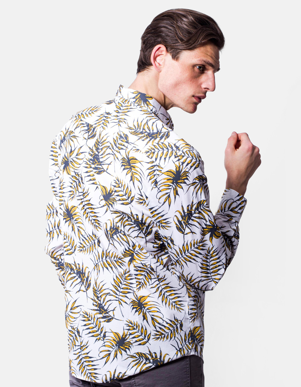 Palm leaves printed shirt  - Backside