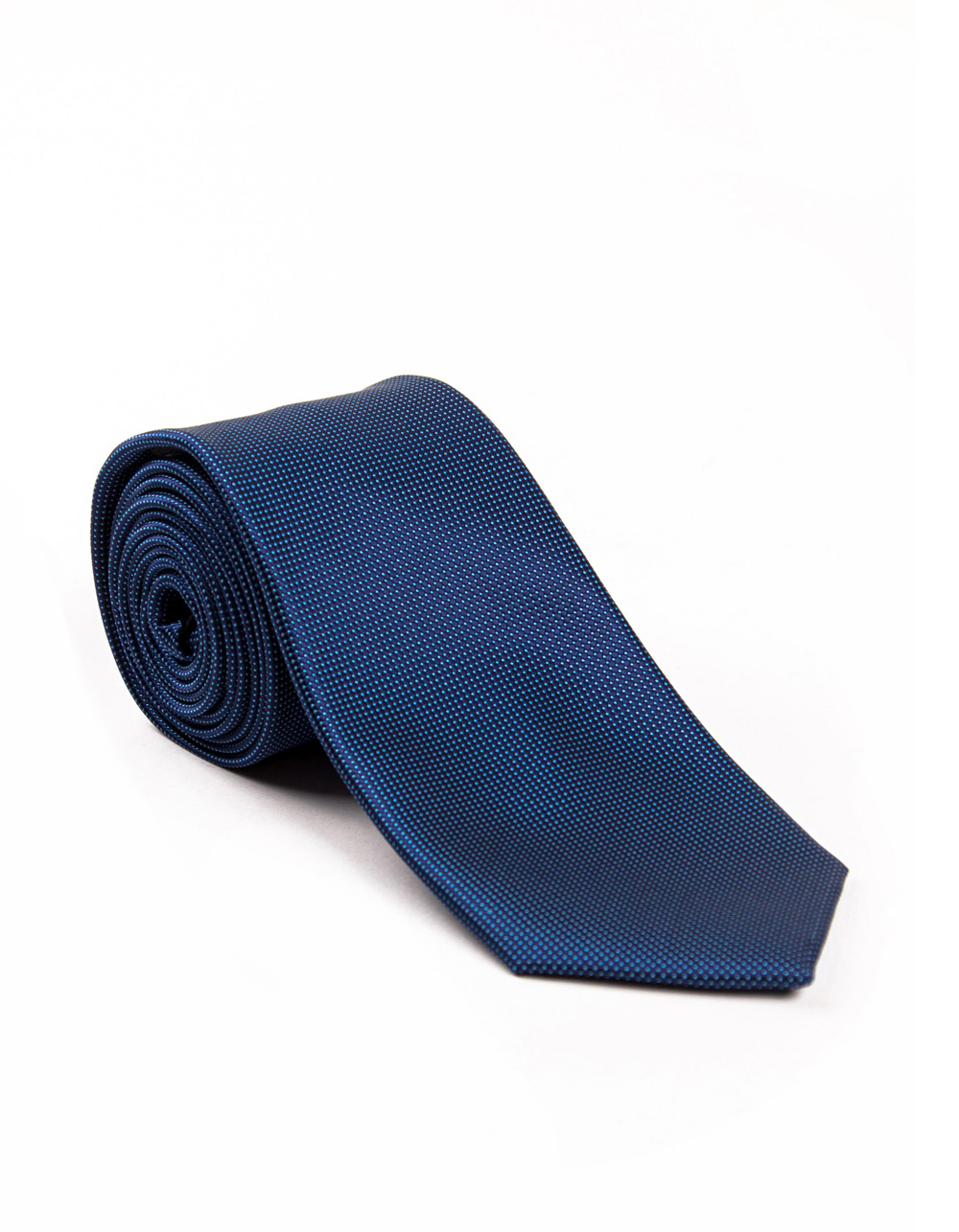 Blue tie with micro polka dots