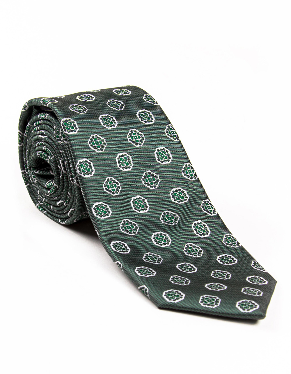 Green and white fantasy tie