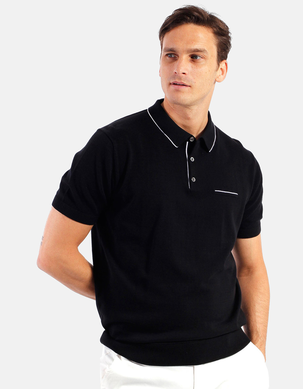 Black white line knit polo