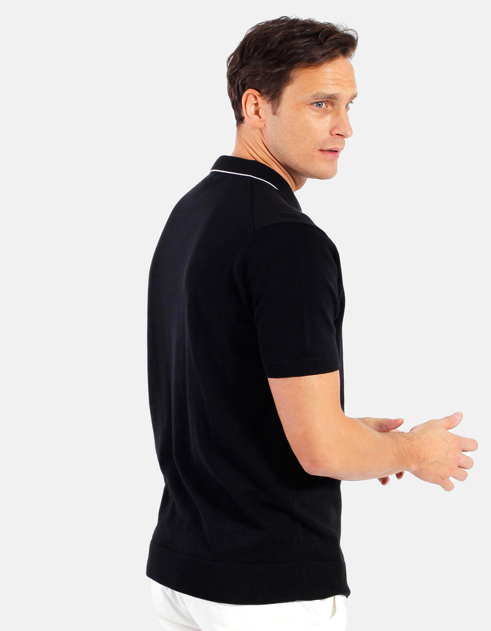 Black white line knit polo - Backside