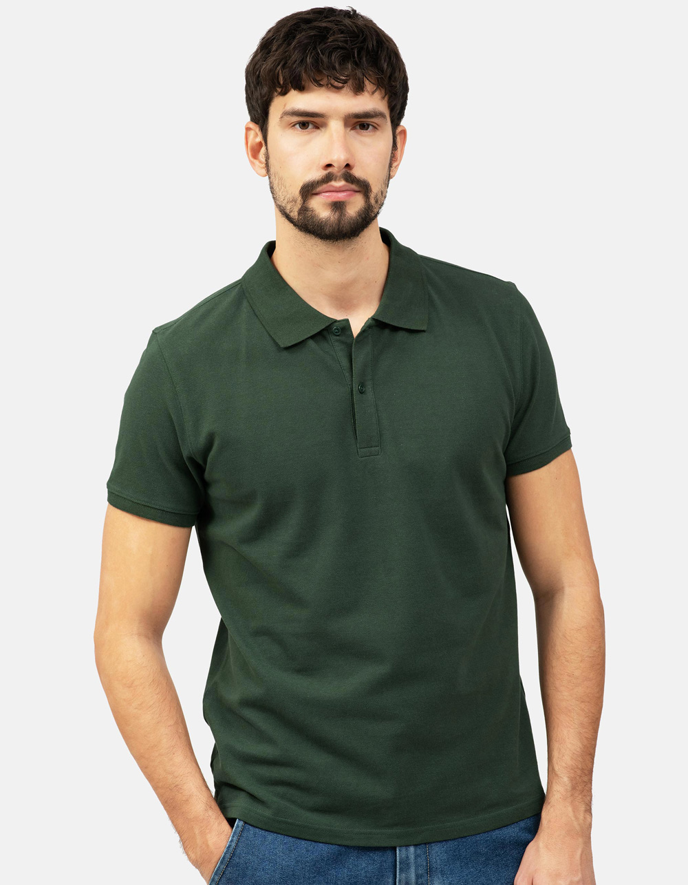 Green basic piqué polo shirt