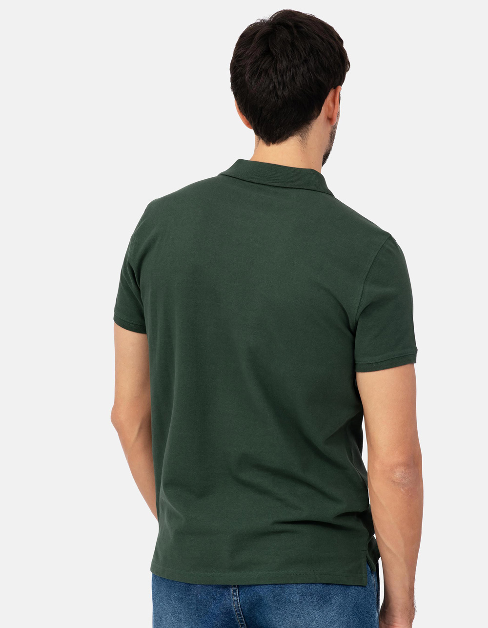Green basic piqué polo shirt - Backside