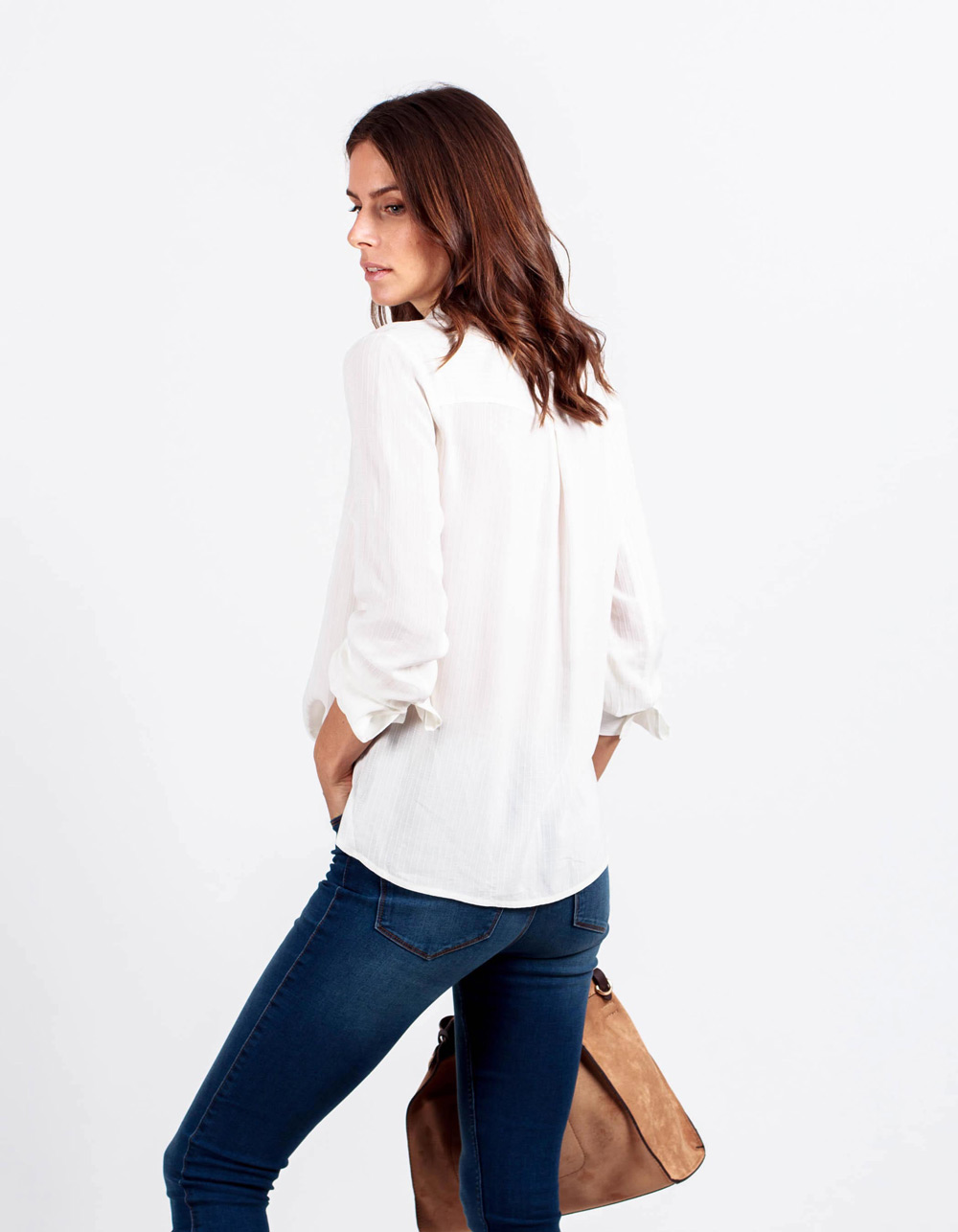 Camisa lisa jackard rayas  - Backside