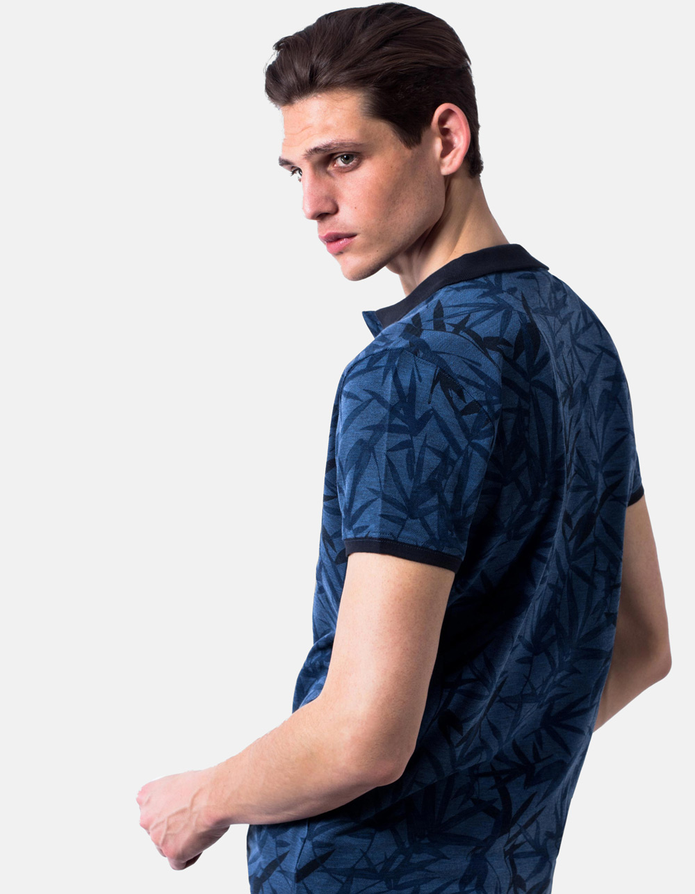 Blue polo pique floral print - Backside