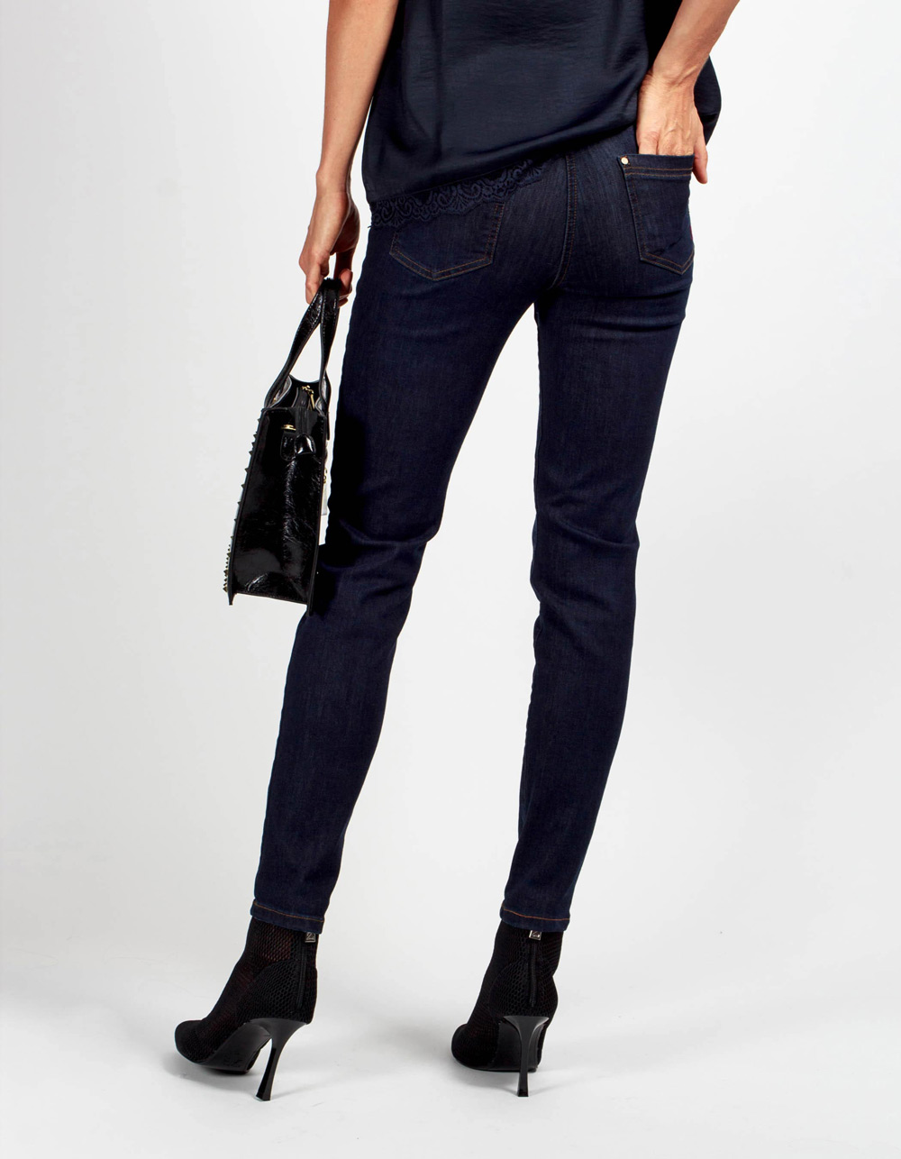 Pantalón vaquero mid rise skinny fit - Backside