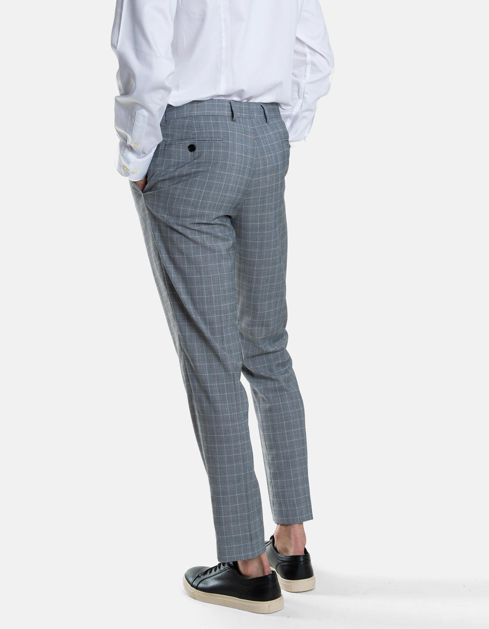 Black White  Plaid Gales Trousers  - Backside