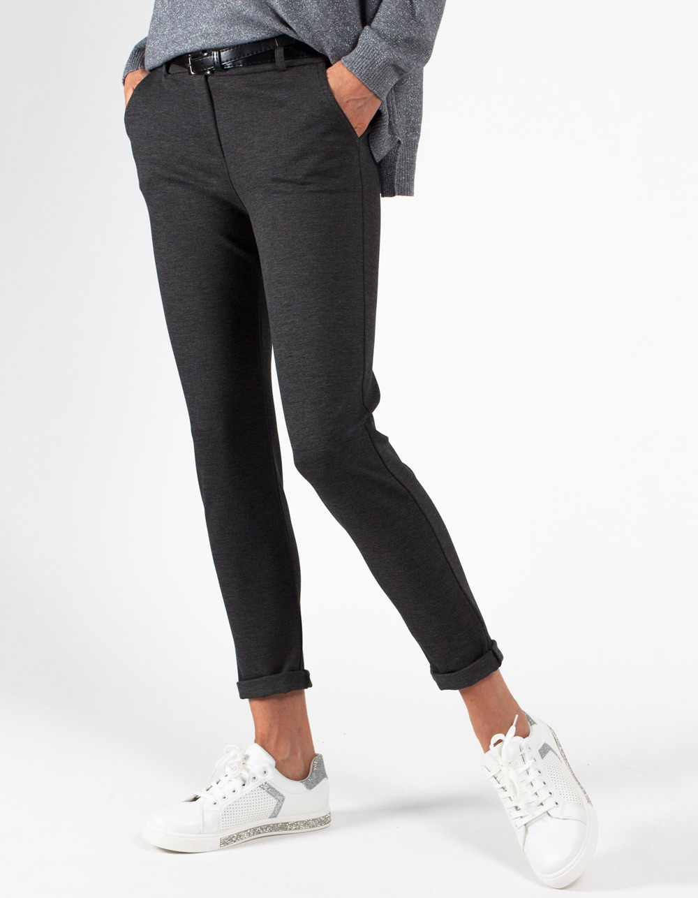 Pantalón gris stretch straight fit