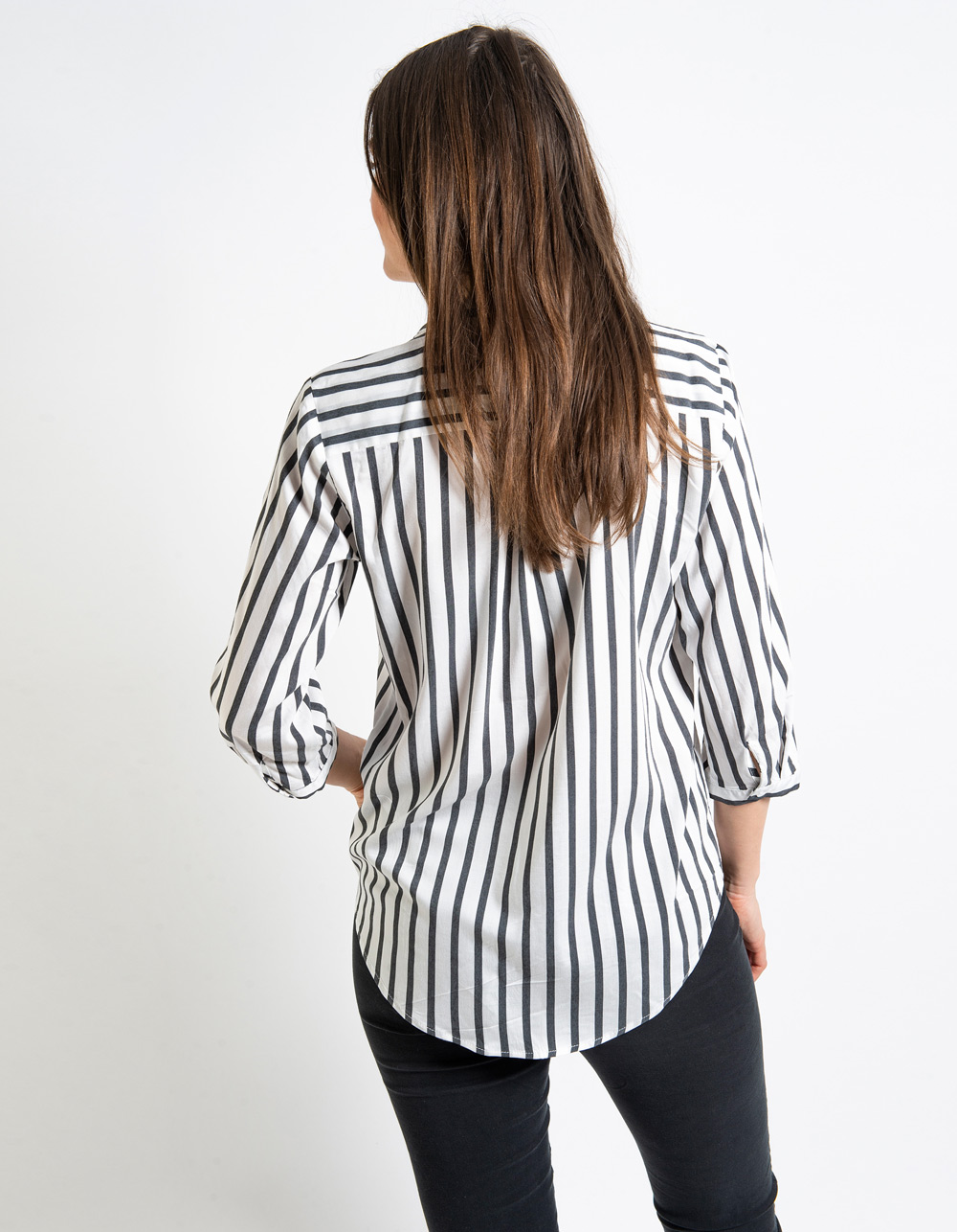 Blusa rayas cuello mao - Backside